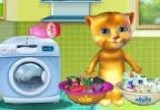 العاب غسيل ملابس القط الناطق