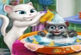 لعبة استحمام طفل القطة انجيلا