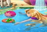 لعبة رابونزيل في بركة السباحة