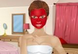 لعبة تنظيف الوجه بالقناع الاحمر